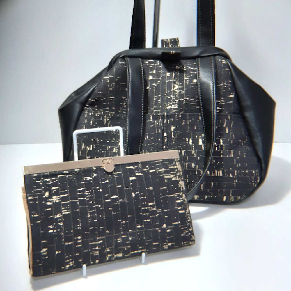 Cork Gladstone & Wallet - Black and gold